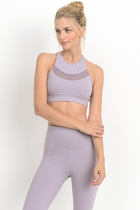 MESH PANEL RACERBACK SPORTS BRA TOP - LAVENDER