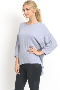 ELASTIC TRIM DETAIL CASUAL TOP - LIGHT BLUE